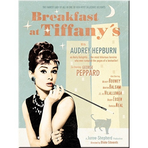 Nostalgic Art Breakfast at Tiffany's Blue Magnet 6x8 cm Renkli